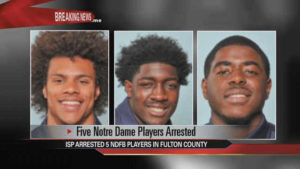 Six Notre Dame football players arrested in two separate incidents  – 95.3 MNC News