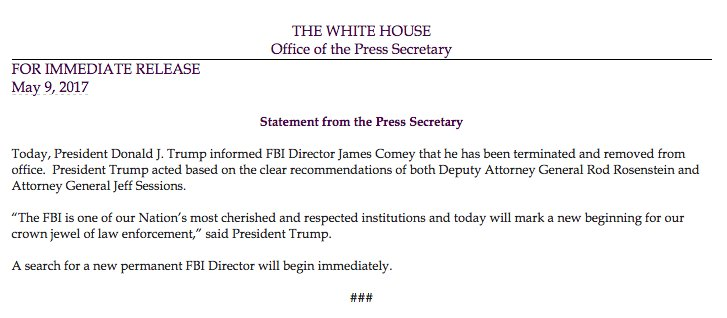 President Trump fires FBI Director James Comey  – 95.3 MNC News