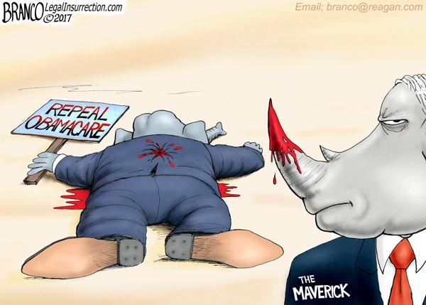 McCain Kills Repeal | A.F Branco | Conservative Cartoon